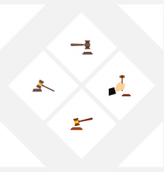 flat icon hammer set of court law legal and vector image