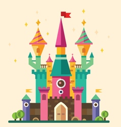 Magical fabulous cartoon castle vector image vector image