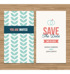 save the date card pattern green 01 vector image vector image