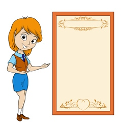 smiling cartoon girl vector image