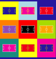 soccer field pop-art style colorful icons vector image
