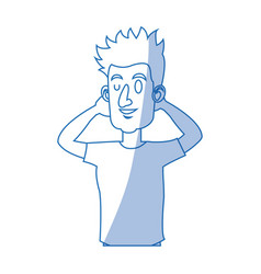 Character man with arms up relaxed attitude vector