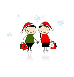 Christmas gifts Family with shopping bags vector image