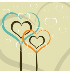 hearts as trees vector image
