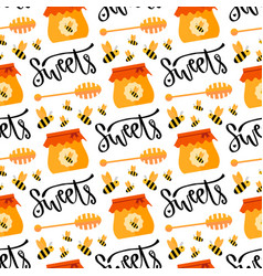 pattern with honey and bee seamless sweet vector image