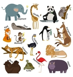 Set of zoo cartoon animals flat style design vector