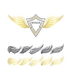 stippling wings set vector image vector image