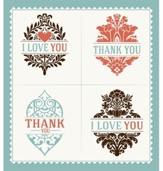 Thank You and I Love You messages Greeting Cards vector image vector image