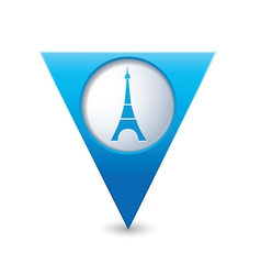 eifel tower icon on map pointer blue vector image