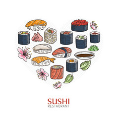 heart background with sushi and rolls japanese vector image vector image