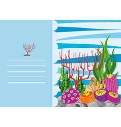 Paper design with coral reef vector
