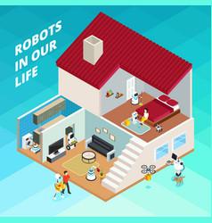 robots isometric vector image vector image