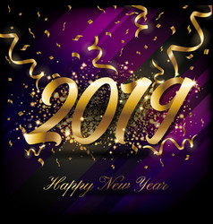 2019 happy new year greeting card background vector