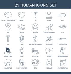 25 human icons vector