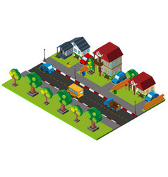 3d design for town with houses and cars vector