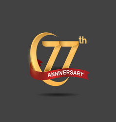 77 anniversary design logotype golden color vector