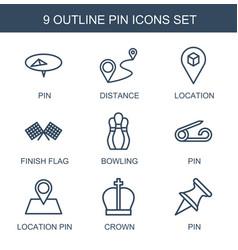 9 pin icons vector image