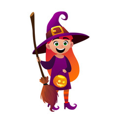a little girl witch and broom on white background vector image