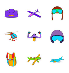 Aircraft icons set cartoon style vector