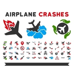 Airplane Crashes Icons vector