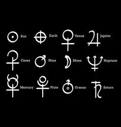 alchemical symbols icons set alchemy elements vector image