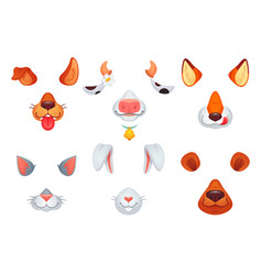 Animal masks video chat dog cat fox bear vector