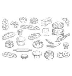 Bakery and pastry shop products sketch vector