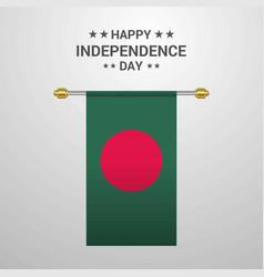 Bangladesh independence day hanging flag vector
