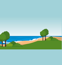 beach seascape scene icon vector image