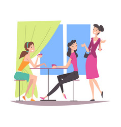 beautiful girls dressed in trendy clothes sitting vector image