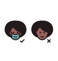 black woman face head with protective medical mask vector image