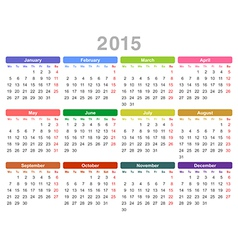 Calendar for 2015 year vector