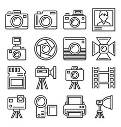 camera and photography equipment icons set vector image