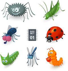 Cartoon bugs set vector image