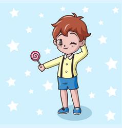 Cartoon little boy holding lollipop candy vector