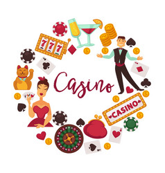casino logotype with elegant croupier female vector image