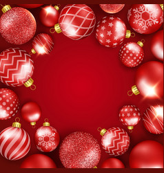 Christmas background with shining colorful balls vector
