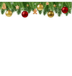 christmas branch border vector image