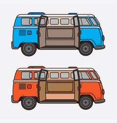 Classic retro vintage car set vector