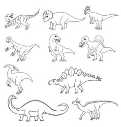 coloring book set ten different dinosaurs vector image