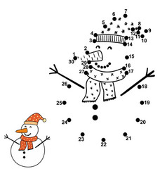 Connect dots and draw a funny snowman vector