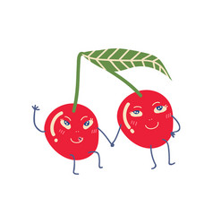 cute couple ripe cherries holding hands vector image