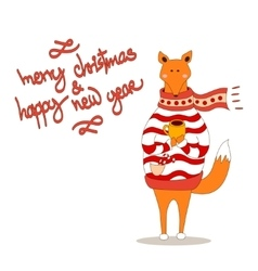 Cute fox christmas holiday greeting card vector