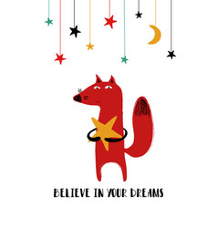 Cute fox holding a star vector