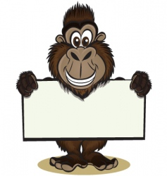cute gorilla holding sign vector image