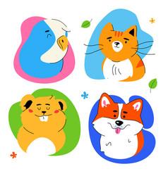 cute pets portraits - modern flat design style set vector image