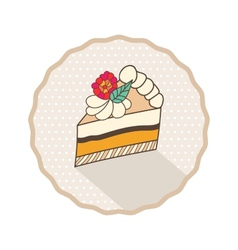 Decorative template frame design with cake piece vector image