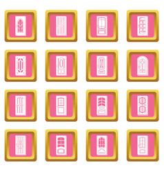 door icons set pink square vector image