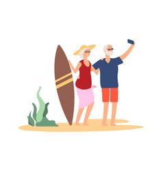 elderly summer vacation grandparent selfie vector image