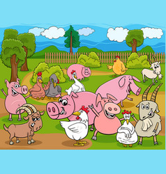 farm animals cartoon characters group vector image